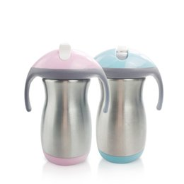 stock handle Australia - 9oz Sippy Cup 280ml Stainless Steel Kids Tumbler with Double Handle Double Wall Insulated Milk Mug Vacuum Coffee Mug Feeding Bottle A03