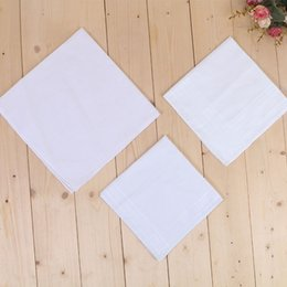 Wholesale Big size 43*43cm White Dinner Handkerchief Pure Kitchen Handkerchief Pure Color Small Square Cotton Sweat Towel Plain Handkerchief DH0167