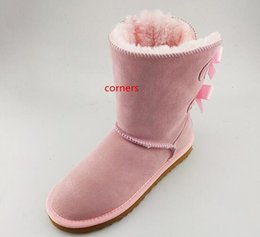 sweet tubes NZ - Winter new fur one tube plus velvet warm snow boots comfortable leather sweet beauty boots round neck bow lady