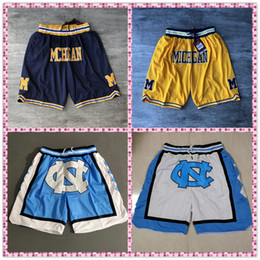 NCAA Size S-XXXL Embroidery Fitness Michigan Wolverines Shorts Sweatpants North Carolina With Zipper Pocket Sportwear Pants on Sale