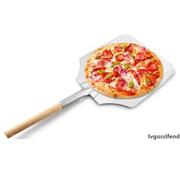 wooden handle spatula UK - 66cm 9inch Aluminum Pizza Shovel Peel With Long Wooden Handle Pastry Tools Accessories Pizza Paddle Spatula Cake Baking Cutter DBC BH3589