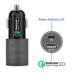usb car charger fast charge Canada - USB PD Car Charger, USB Port High-Speed QC 3.0 USB Port Car Chargers,PD+QC 3.0 Fast Charge, Black Compatible SAMSUNG HUAWEI Android