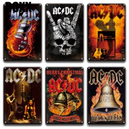 Wholesale rock roll signs for sale – custom ACDC Band Rock N Roll Plaque Metal Tin Sign Vintage Man Cave Bar Pub Home Decor Retro Living Room Wall Art Metal Poster Signs