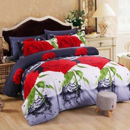 3d duvets red roses king size NZ - Home Textiles 3d Red Rose Bedding Set Cotton Bed Linen 4pcs of Duvet Cover Bed Sheet Pillowcase Bedclothes Twin Queen King Size