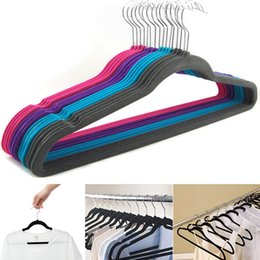 velvet clothes hangers UK - Non-Slip Velvet Suit Hangers Racks 360 degree Rotating Non-Marking Space Saving Hangers For Pant Bar Garments Shirt Suit Clothes HH7-1107