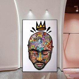 Graffiti Art Portrait Of 2PAC Tupac Wall Art Posters And Prints Abstract Rapper of 2PAC Canvas Paintings Art Pictures Home Decor on Sale