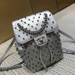 high end hand bags UK - The new ladies backpack 7A high-end custom quality high capacity single shoulder bag goat grain rivet backpack made by hand