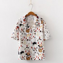 cats blouse Canada - Sleeve Blusas Femininas Cat Print Shirt Short Vintage Women Tops Fashion Ladies Blouses Female Clothes uw3c#
