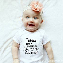 Wholesale jumpsuit a romper for sale – dress Funny Newborn Cotton Romper My Mom Has A Freaking Awesome Sister Print Infant Auntie Baby Onesie Toddler Babies Jumpsuit Clothes