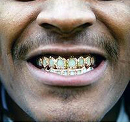 teeth fangs UK - 18K Gold Hip Hop Full Diamond Hollow Teeth Grillz Dental Iced Out Fang Grills Braces Tooth Cap Vampire Cosplay Rapper Jewelry Wholesale