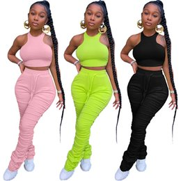 tight fashion vests NZ - Women Tracksuits Sexy Sleeveless Tops Long Pants Solid Color Tight Vest Pleated Trousers Set Two-piece C3359
