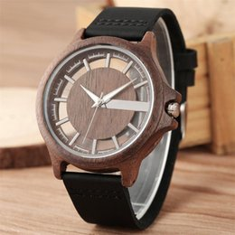 cool stylish glasses UK - Creative Transparent Skeleton Display Men Wood Watch Quartz Wristwatch Genuine Leather Watchband Stylish Cool Men's Wooden Clock
