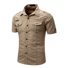 Wholesale slim fit work shirts for sale - Group buy Mens Tactical Cargo Work Shirt Casual Slim Fit Short Sleeve Shirts Summer Cotton Fashion Shirts Button Down