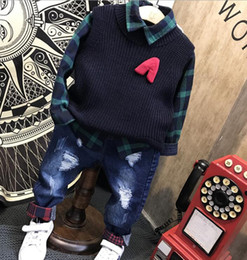 knitting baby vest UK - Baby Boys Sets Autumn winter Boys Sets Clothes Knit vest + shirt + jeans 3pcs cotton sports Children Suit 2-6years free shipping