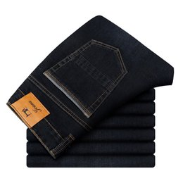 Discount mens scratches jeans 2020 New Fashion Jeans Mens Pants Cotton Deniem Classic Loose Trousers Casual Stretch High Quality Black Blue Multiple Styles 44