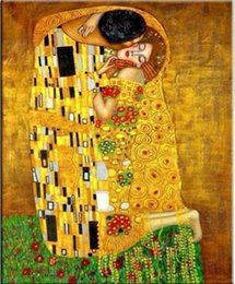 gustav klimt canvas prints NZ - Gustav Klimt Classic art The Kiss Home Decor Handpainted & HD Print Oil Painting On Canvas Wall Art Canvas Pictures 4308
