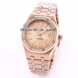 rose gold black womens watches Canada - New 37mm Diamond Bezel 15451OR.ZZ.1256OR.03 Automatic Womens Watch Stainless Steel Hand Rose Gold Ladies' Fashion watches Perfect Gift