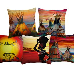 paintings american indians Australia - Colorful Oil Painting Indian Tent Cushion Cover American Indians Teepees Tipi Cushion Covers Decorative Linen Cotton Pillow Case