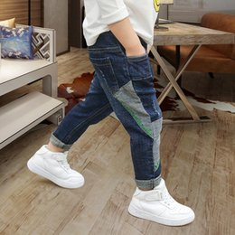 Wholesale patched boy jeans resale online – designer Boys jeans autumn Spring jeans and Autumn Korean style children s medium and large children s casual pants casual patch pants