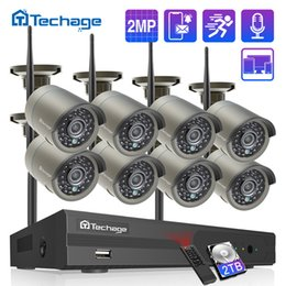 wireless camera ip nvr UK - Security & rotection Techage H.265 8CH 1080P Wireless NVR Kit 2MP Outdoor Security Audio Record Wifi IP Camera P2P Video CCTV Surveillance