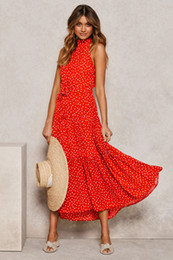 floral print halter maxi dress NZ - 2020 New Women Summer Dress 13 Colors Dot Floral Printed Bohemian Beach Dress Sexy Halter Sleeveless Casual Maxi Long Dress Ladies Clothing