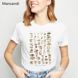 Discount mushroom t shirt Mushroom illustration print t-shirt women clothes 2020 summer fashion vogue t shirt female tumblr tops tee shirt femme t