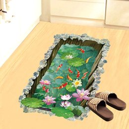 pond wall stickers Australia - Fashion Fish Pond 3D Floor Stickers Beautiful Flowers Bathroom Bedroom Wall Sticker Creative Landscape Home Decor for Kids Room