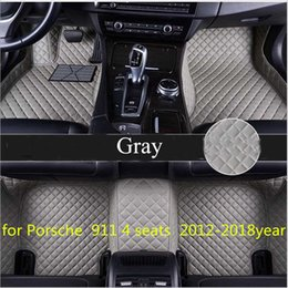 seat floor mats UK - Tailor made car floor mat waterproof PU leather material, suitable for Porsche 911 4 seats 2012-2018year