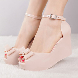 super c Canada - Summer Fashion Peep Toe Women Beach Sandals Super High Heels Wedges Platform Ankle-Wrap Buckle Bowknot Ladies Jelly Shoes 200304 T200801