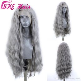 front lace wig ponytail UK - 180density silvery Grey Synthetic Lace Front Wig With Natural Hairline Water Wave Heat Resistant Wigs For Black Women can do ponytail