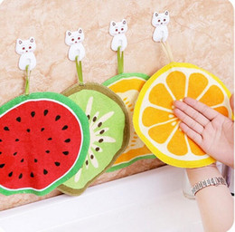 eco friendly towels UK - Hangable Cartoon fruit pattern Hand towel Kitchen Towel Quick-Dry Cleaning Rag lovely Handkerchief for children H162 020
