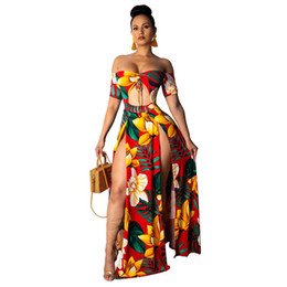 ingrosso le sundresses delle donne-Stampato Summer Beach Maxi Dress Senza spalline Off Spalla Sexy Alta Slitta Slitta Suntdress Womens Robe Hollow Out Abiti lunghi