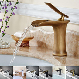antique bronze mixer Canada - Waterfall Bathroom Basin Sink Faucets Hot Cold Tap Deck Mounted Water Mixer Crane Antique Bronze Chrome Finished ELM100 T200710