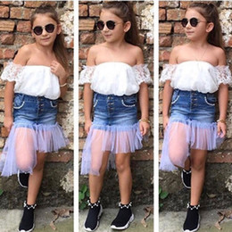 children kits NZ - Summer Children Girls Clothes Suit Top Toddler Girl Clothes Kit White Off-The-Shoulder Tshirt+Denim Skirt 2 Piece Kids Clothing