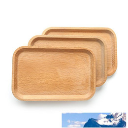 fruit tray bowl UK - Square Fruits Platter Dish Wooden Plate Dish Dessert Biscuits Plate Dish Tea Server Tray Wood Cup Holder Bowl Pad Tableware Tray BC BH1574