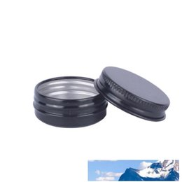 lip balm wholesale tin UK - 15g Small Black Aluminum Jar 15ML Empty Lip Balm Cosmetic Eye Cream Bottle Travel Lotion Tin Container LX3269