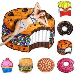 Neue Art und Weise Pizza Donut Strandtuch im Freien Picknick-Matte weiche Decke Dekor-Reise Sommer Camping Strandtuch DDA139 im Angebot