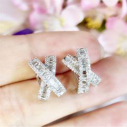 Wholesale Ins Top Selling Luxury Jewelry 925 Sterling Silver Cross Earring Princess Cut White Topaz CZ Diamond Gemstones Women Wedding Clip Earrings