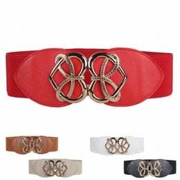 wide elastic leather belts UK - Retro Fashion Decorative Elastic Waistband Femme Elastic Wide Belt Female Belt Mujer Red White Slim Waist Band New #W HKW3#