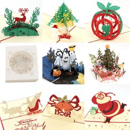 3d cards festivals UK - 3D Up Greeting Cards Birthday Christmas Halloween Postcard Gift DIY Hot Creative 3D Funny Greeting Card Festival Gift