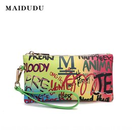graffiti long wallets UK - Maidu 2020 new women's new graffiti printing Wallet handbag women's handbag letter coin purse long