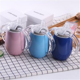 stainless steel mugs for kids NZ - 10 oz Double Handle Baby Cups 304 Stainless Steel Glasses Double Wall Sippy Cup Insulated Water Mug For Kids DHB603