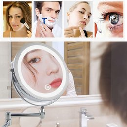 "light up plugs Canada - 8.5"" LED Vanity Make up Mirror Light Bathroom Wall Magnifying Makeup Mirror with Light US EU Plug"
