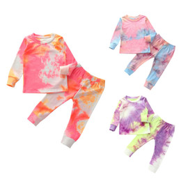 Wholesale fall neck t shirt for sale – custom Fall Toddler Girl Tie Dye Boutique Outfit Clothes Christmas Kid Casual T Shirt Top Trouser PC Tracksuit Children Set Apparel