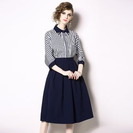 clothes button buckles UK - 2019 Autumn Clothing Lapel 7 Part Cuff Bag Single Row Buckle Stripe Shirt + Half-body A A-line Skirt