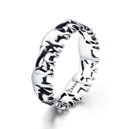 Wholesale Vintage Elephant Band Rings Sterling Silver High Polish S925 Stamped Solid Silver Rings Size #6-8 Fashion Women Jewelry