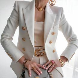 Wholesale double breast suit resale online - 2020 Hot Sale Solid Color Double Breasted Women Blazer Fashion Suit Collar Long Sleeve Slim Blazer