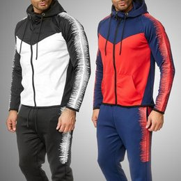 Wholesale joggers hoodie for men for sale – custom Striped Sweat Suits Men New Tracksuit Set Men Fashion Hoodies Sweatpants Jogger Set Spring Autumn Slim Track Suit for