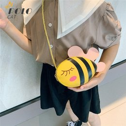bee purse NZ - New Hot Cartoon Bee PU Leather Coin Purse Cute Crossbody Bag For Children Girl Small Single Shoulder Bag Wallet For Kids Gifts W2bf#