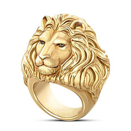 men lion rings UK - AprilGrass Brand Plated Gold Lion Head Men Ring King Of Forest Punk Animal Male's Jewelry Fashion And Rock Style Best Gift Rings